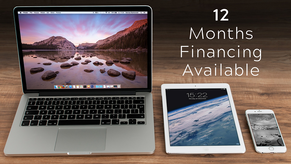 6 and 12 month financing now available. You can use this special financing on Repair Services or even purchasing a new device! FInance your new MacBook, iMac, iPad, Samsung smartphone, or laptop. Flexible options. Subject to credit approval. Buy Now Pay Later Phone & Computer Repair