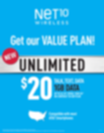 Prepaid services $20 Value Plan for Unlimited Talk, Text, and Data. Net10 Wireless and other pre-paid services available from Source1Phones your source for small eletronics repair services in Charlotte, NC and surrounding areas.