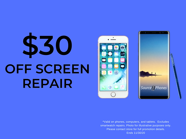 $30 off screen repair service! Save on iPhone, Samsung Galaxy, Smartphone, iPad, Tablets, PC, MacBook, and Laptop screen repairs!