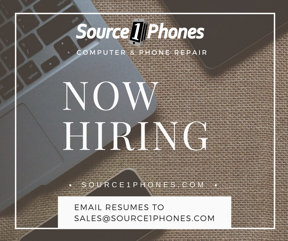 Source 1 Phones Computer & Phone Repair NOW HIRING! Full time position - immediate openings available! South Charlotte, NC - Ballantyne - Waverly - Fort Mill - Indian Land, SC - Rock Hill, SC