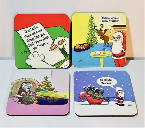 'Christmas': Set of 4 Coasters