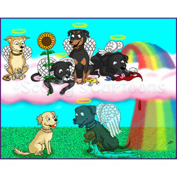 rainbow bridge cartoon scene