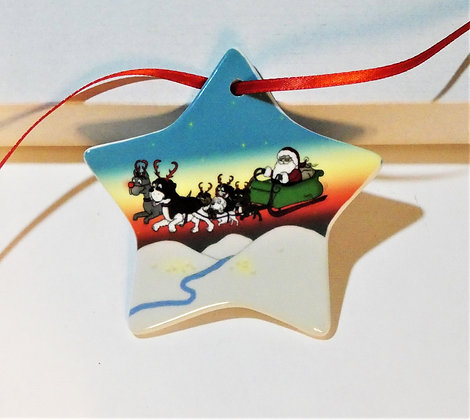 Reindogs Star Ceramic Christmas Decoration