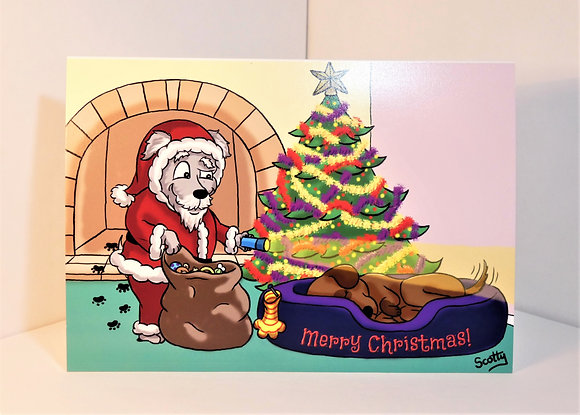A5 'Dog Tail' Christmas Card (Personalised)