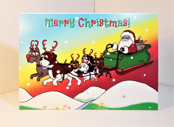 A5 Reindogs Christmas Card (Personalised)