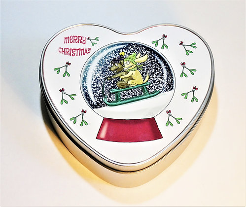 Snowglobe Heart Tin