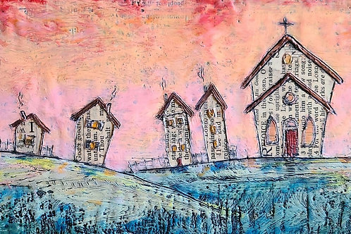 Community of Hope 6x12 inch Church Painting