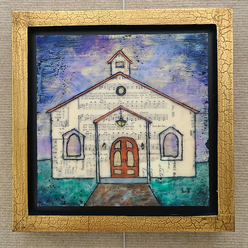 """How I Love Jesus"" church hymnal framed painting 8x8"