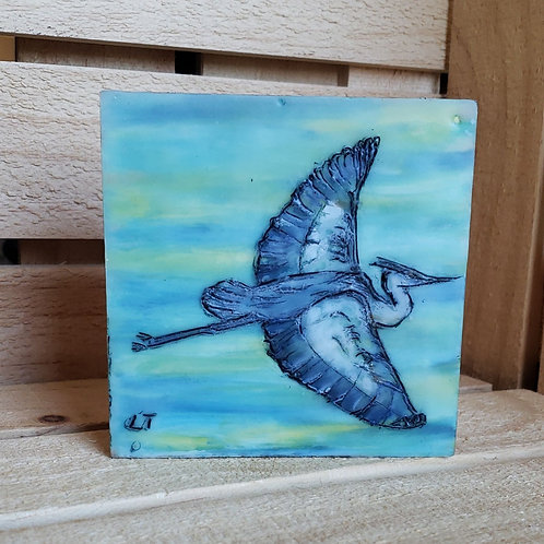 Heron in Flight mini painting