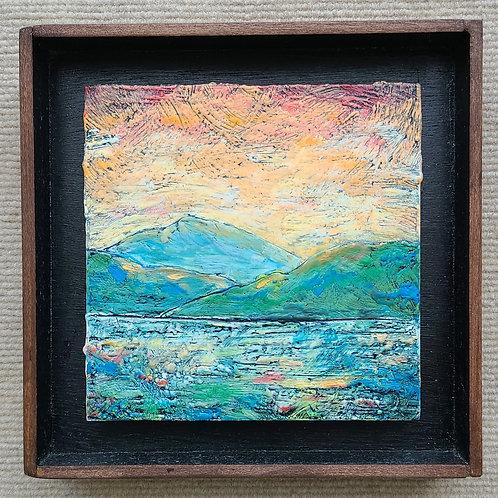 Hills of Praise 6x6 framed landscape painting