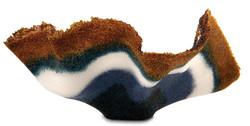 16 amber & blue Glass frit bowl side vie