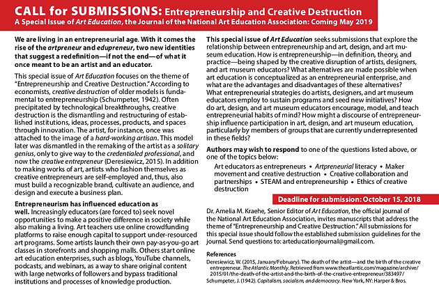 Call for Papers (Sept 6, 2018) | AERI - Art Education