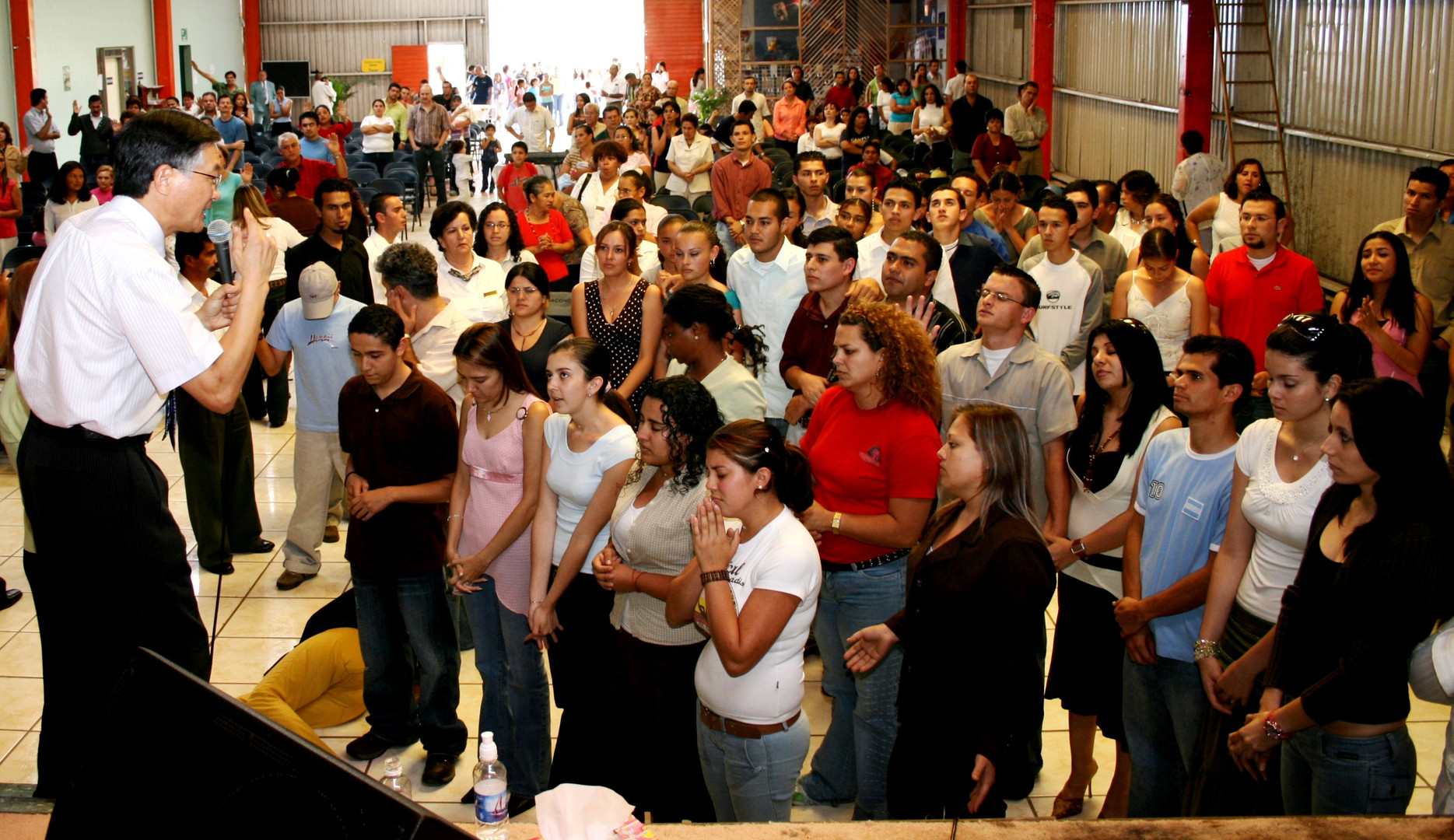 Ministering to young people in a church in Cartago, Costa Rica