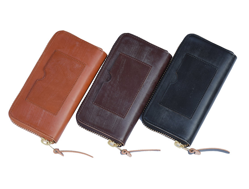 Wax Leather Zip Wallet L