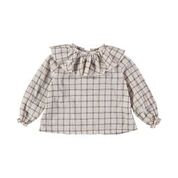 JULIETTE CHECK COLLAR BLOUSE -DUST ROSE