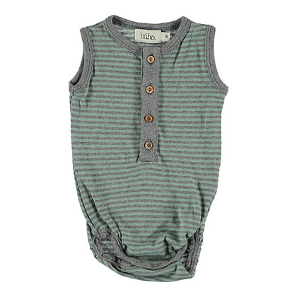 BIBI STRIPES JERSEY ROMPER ( MINT )