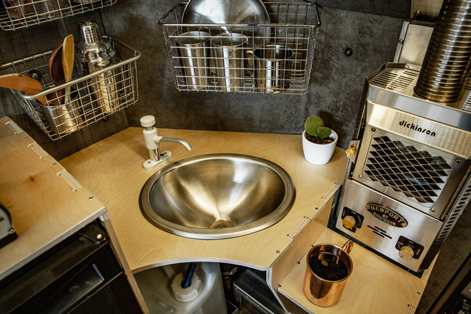 stainless steel sink and marine hand pump