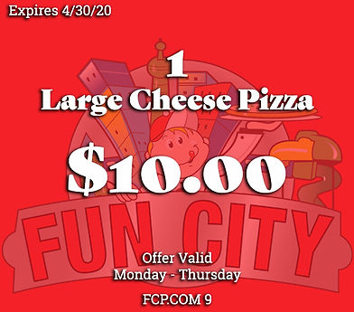 Grab yourself a Large Cheese Pizza for only $10 on Mondays through Thursdays