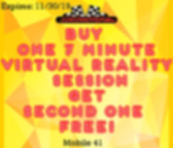 Buy a 7 minute Virtual Reality session and get 7 minutes free with this special coupon!