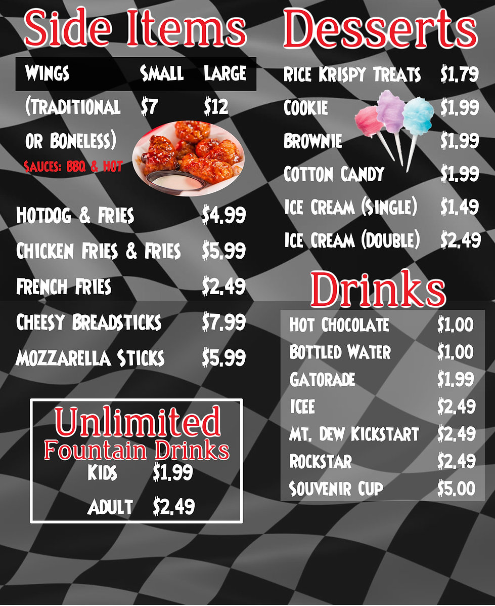 Food Menu with pizza, wings, drinks and other great food
