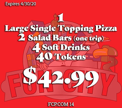 Special Deal for a large single topping pizza with drinks, two trips to the salad bar and tokens to play games and have a great time with the family!