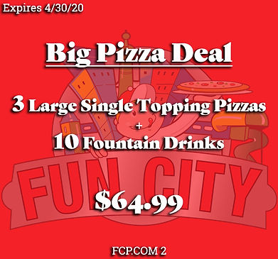 Big Pizza Deal with 3 large pizzas and 10 Fountain drinks. Perfect for great family fun!