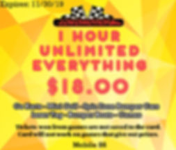 Coupon for a 1 Hour Unlimited Everything Card so that yo can do go karts, laser tag, spin zone bumper cars and arcade games!