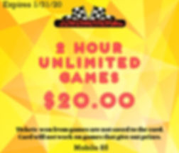 Coupon for a 2 Hour Unlimited Games for $20!