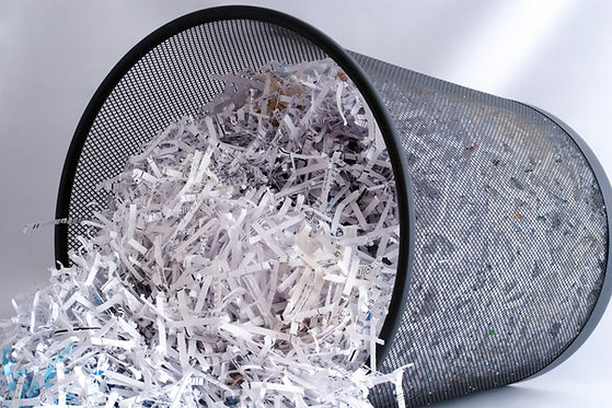 Shredded Paper in Waste Basket