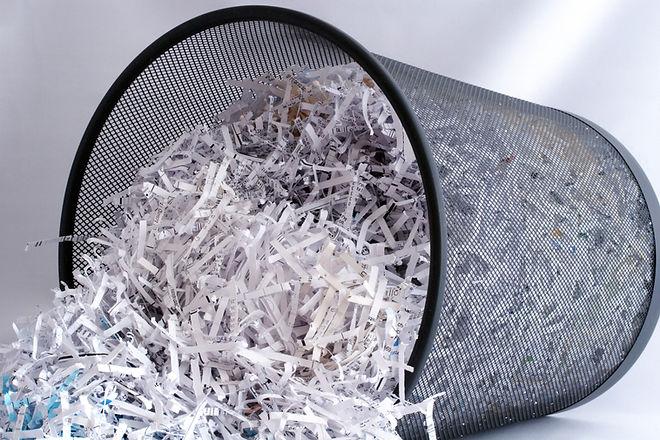 Shredded Paper in Waste Basket