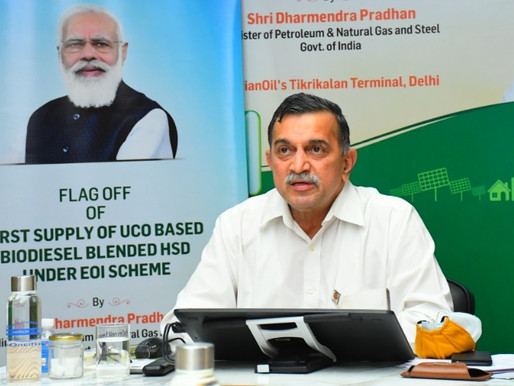 Petroleum Minister flags off 1st supply of Used Cooking Oil-based Biodiesel from IndianOil