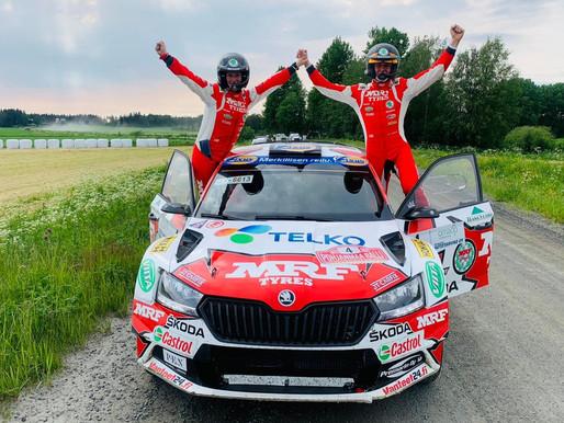 Team MRF Tyres wins the Pohjanmaa Ralli in Finland
