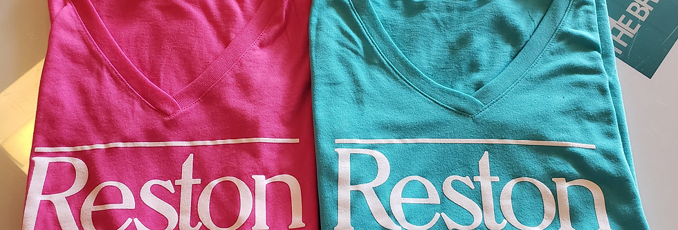 Women's Light Teal Blue and Pink Reston T-Shirt