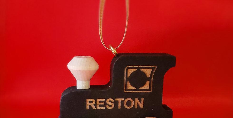 Wooden Reston Train Ornament