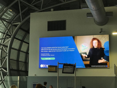 FONDAZIONE ICONS, WINNER OF .EU WEB AWARDS 2018, AT BRUSSELS AIRPORT WITH A BILLBOARD CAMPAIGN