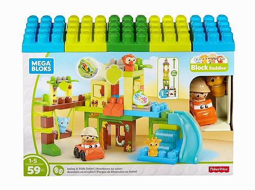 Mega Bloks First Builders Swing and Slide Safari W/ 59 Pcs