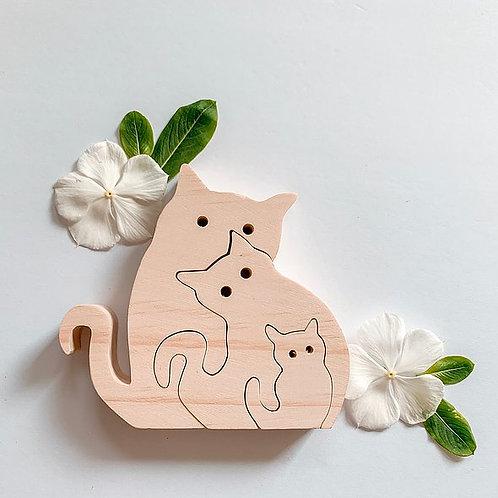 Kaspi Land Mama Gato Cat Family Puzzle