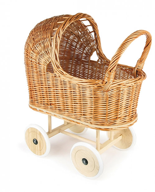 Egmont Toys Natural Wicker Pram With Rubber Wheels And Bedding