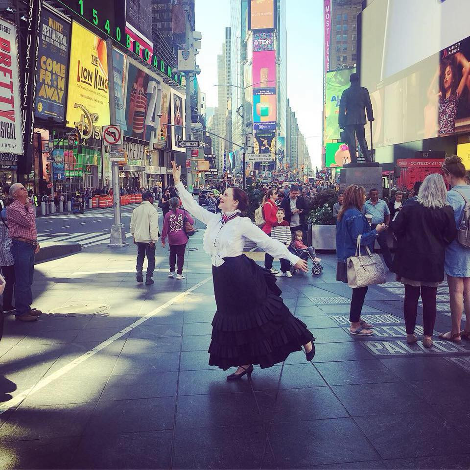 Ashley Ford as Victoria Woodhull arrives in NYC