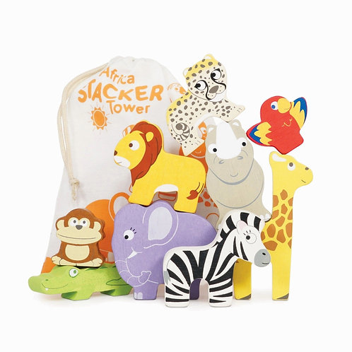 Le Toy Van Africa Stacking Animals And Bag