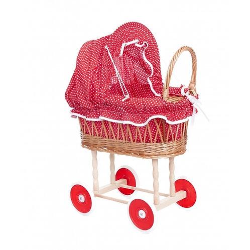 Egmont Toys Wicker Pram, Red & White Polka Dots