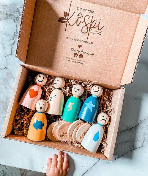 Kaspi Land Feelings & Emotions Peg Doll Set English/Spanish