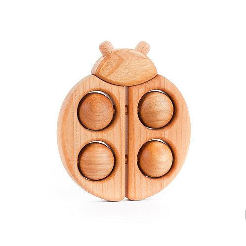 Bajo Ladybug Rattle Roller - Natural