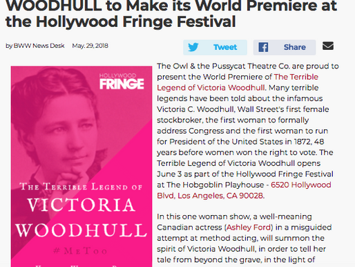 THE TERRIBLE LEGEND OF VICTORIA WOODHULL to Make its World Premiere at the Hollywood Fringe Festival