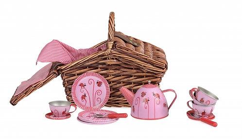 Egmont Toys Tin Tea Set In A Ladybug Basket