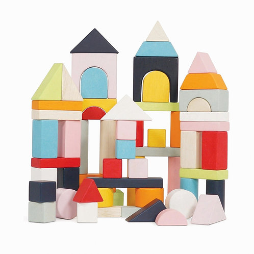 Le Toy Van Wooden Building Blocks - 60 Piece Set