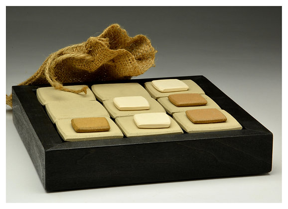 Ceramic and Wood Tic Tac Toe Set