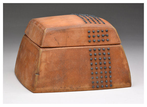 Large Lidded Ceramic Box with Steel Nails