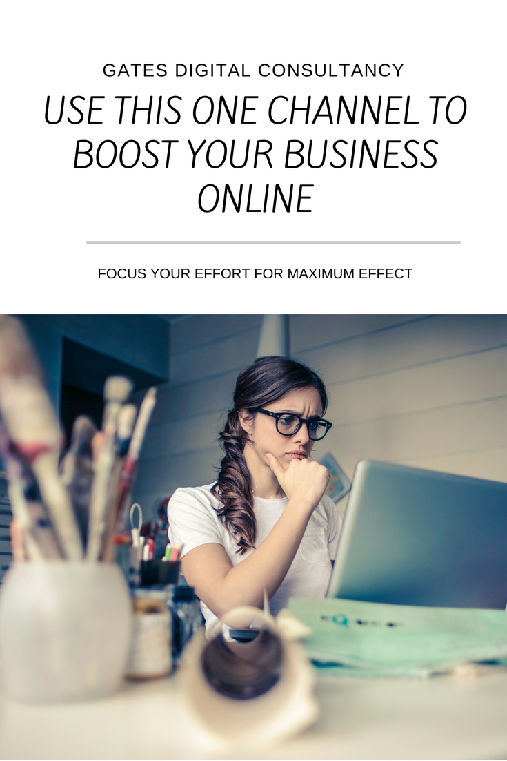 "Confused woman at her desk and the blog title ""Use this one channel to boost your business online"""