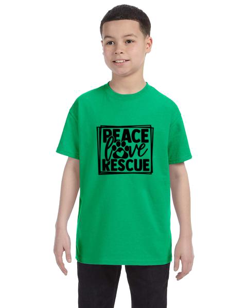 Kids Unisex Tee-Peace Love Rescue